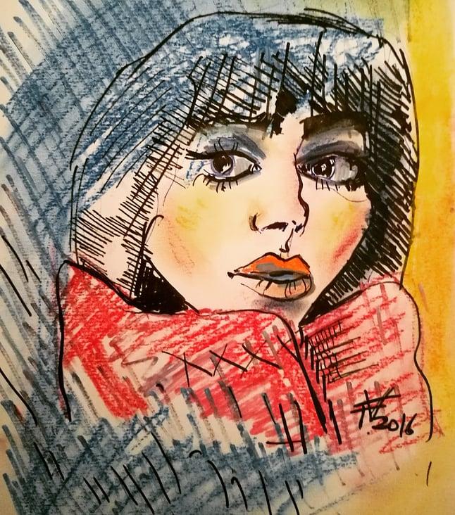 Portrait expressive/2017 Vienna/pastel and ink on paper