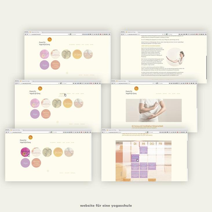 Softe Bedien-Übergänge, weiche Farben für eine Yoga und QiGong-Schule