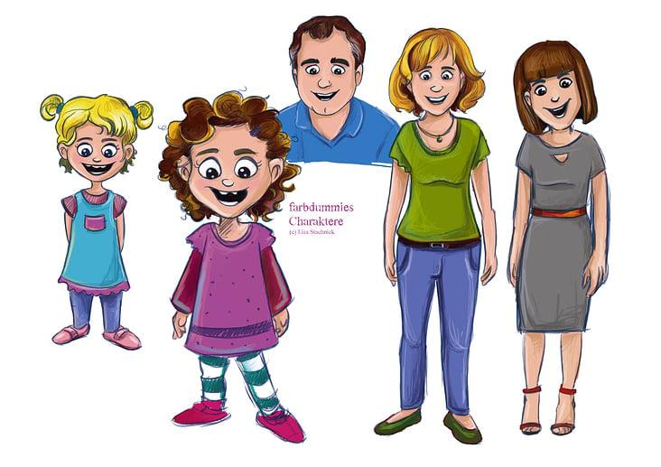 Charaktere-Farbdummies