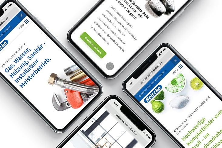 Corporate Design, Printdesign und Responsive Webdesign für die Neitzke Sanitärtechnik GmbH