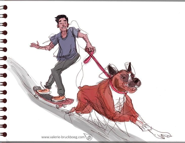 dogpulling skateboard