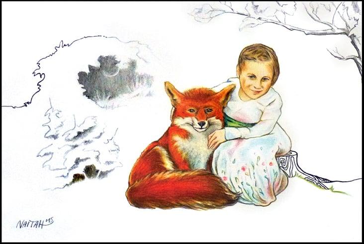 """""""Kind mit Fuchs"""" Bunt- und Bleistift, Fineliner auf Papier"""
