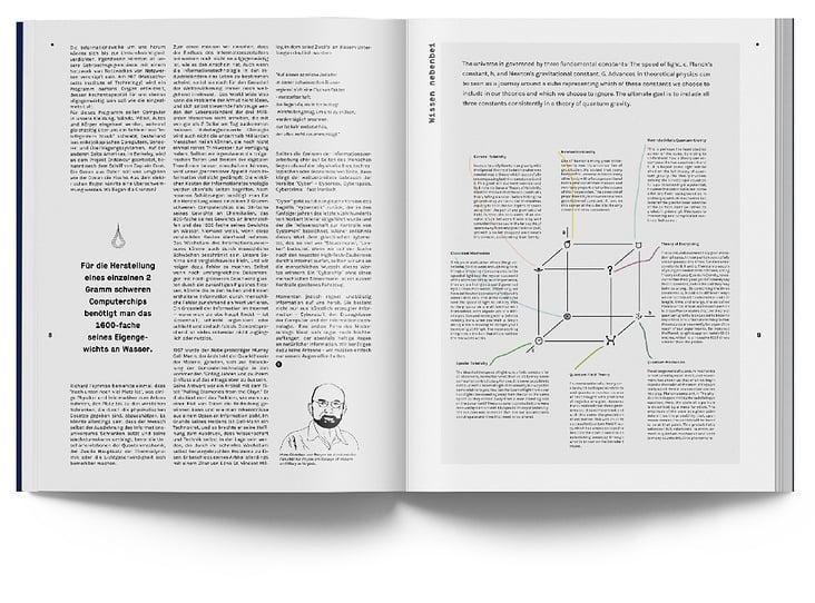 """Links ein Artikel von Hans Christian von Baeyer über das Wesen der Information, rechts eine Kolumne zum """"Bronstein-Würfel"""""""