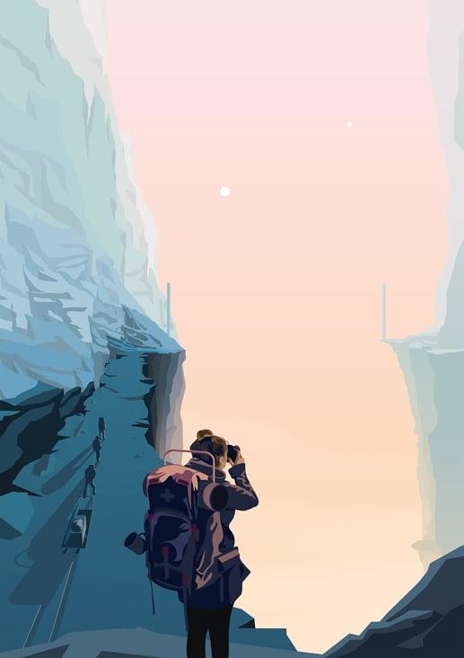 Die Erkundung eines Canyons