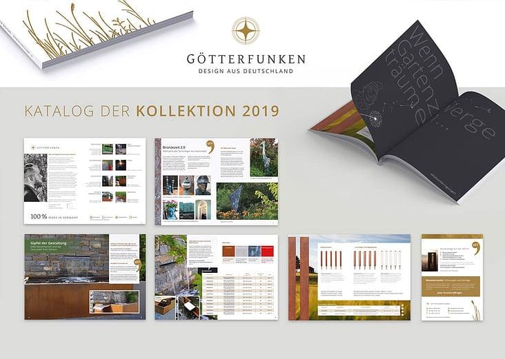Katalogdesign Produktkatalog Götterfunken GmbH– hochwertige Dekoraktionsobjekte für den Garten