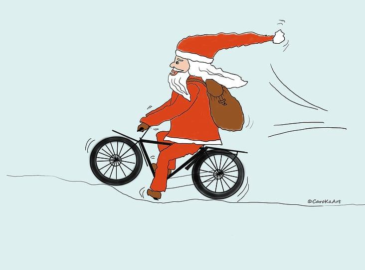 """Postkartendesign """"Cycling Santa"""""""