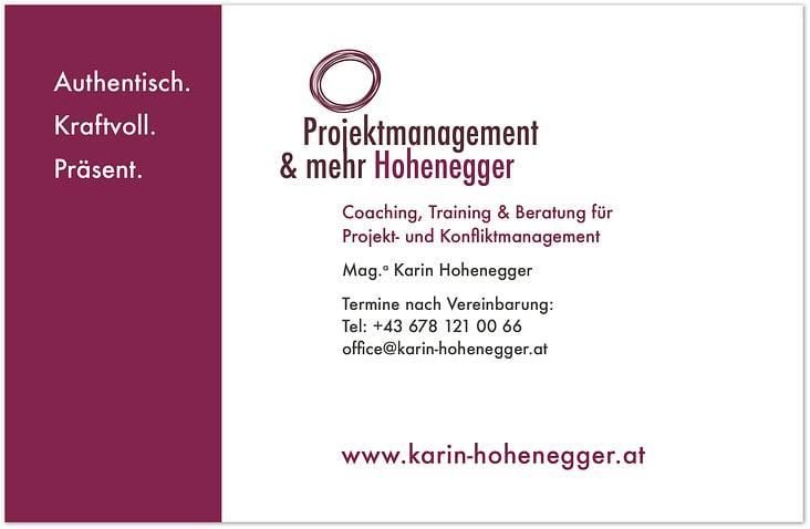 Projektmanagement Hohenegger– Firmenschild