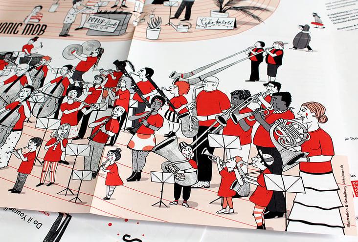 Wimmelplakat Musikillustration