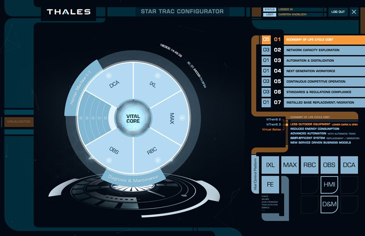 """Star Trac"" digitally animated pie chart – Showcase at the Thales booth at Innotrans in Berlin"