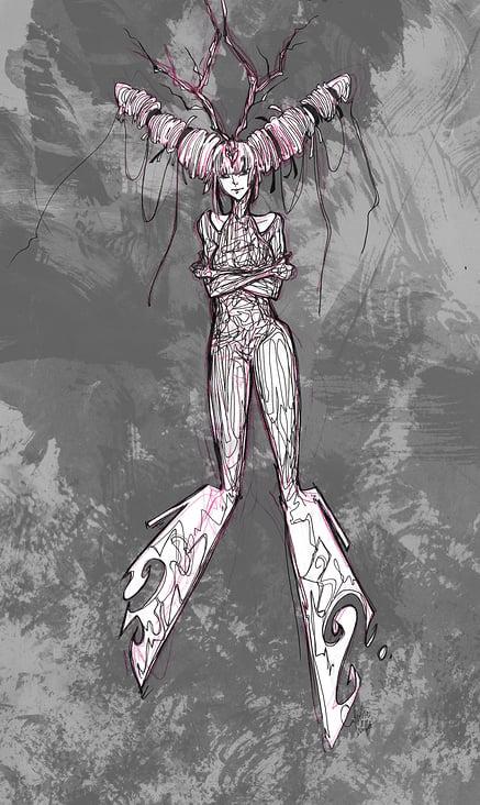 Sci-Fi-Drachen-Cyborg-Dame