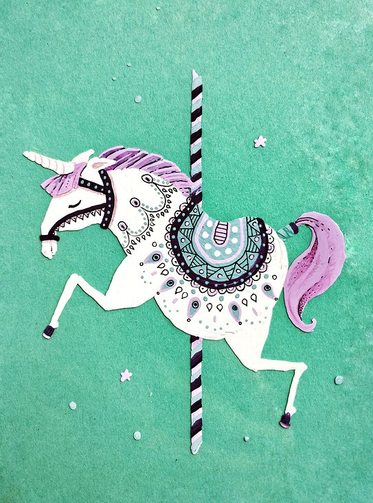 Marker on foil – Einhorn