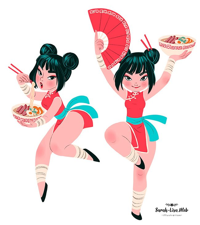 Noodle Girl poses
