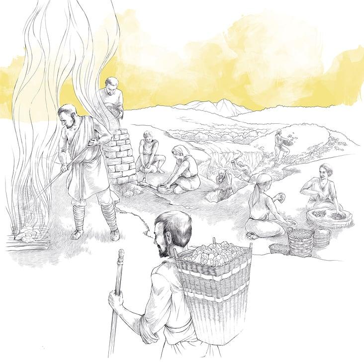 Illustration historischer Kohleherstellung