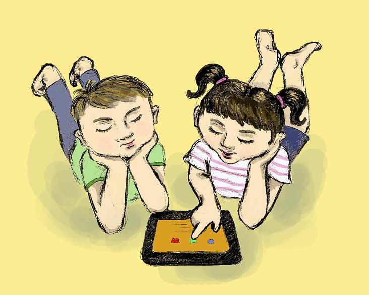 Kinderbuchillustration– Junge und Mädchen mit Tablet