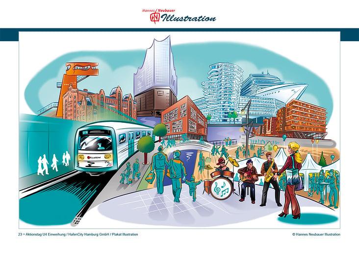 23 = Aktionstag U4 Einweihung / HafenCity Hamburg GmbH / Plakat Illustration