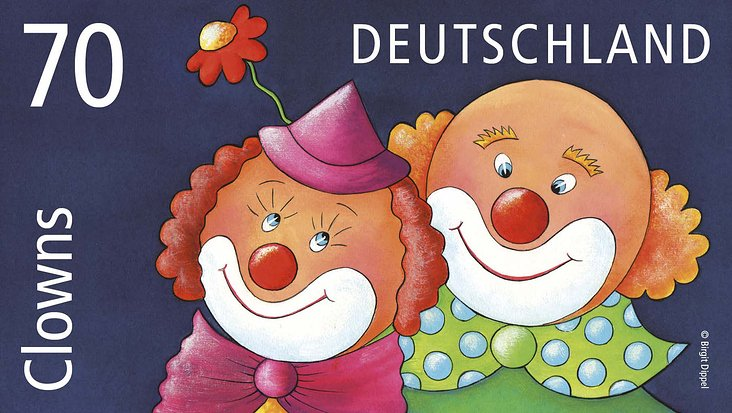 """Clowns"" Briefmarke"