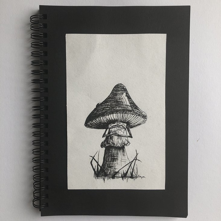 Naughty mushroom   –   Ink on paper