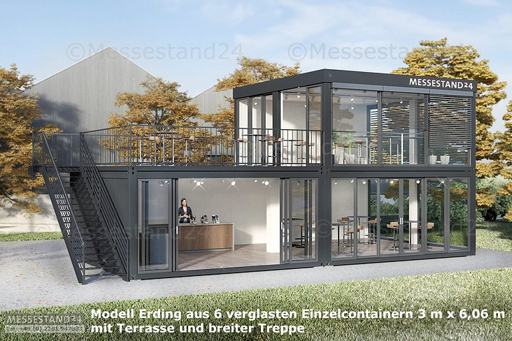 Eventcontainer aus 6 Modulen und einer Terrasse für Messen und Events