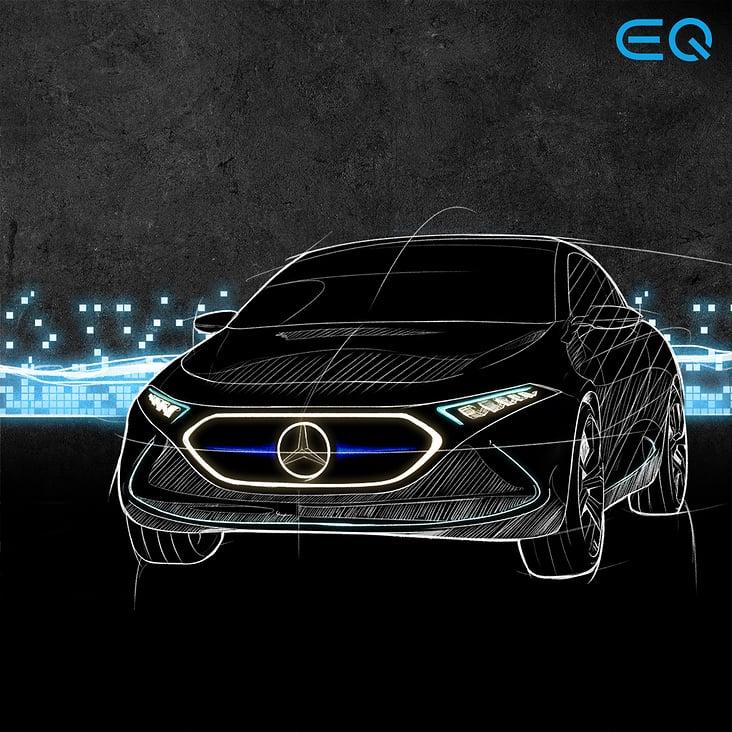 Automotive Illustrationen (Mercedes EQ)