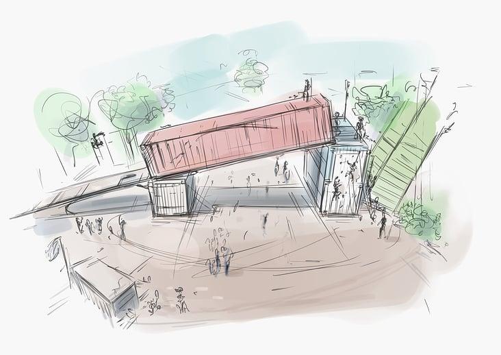 Festival-Gelände Eingang mit Skate-Event   Quick Scribble
