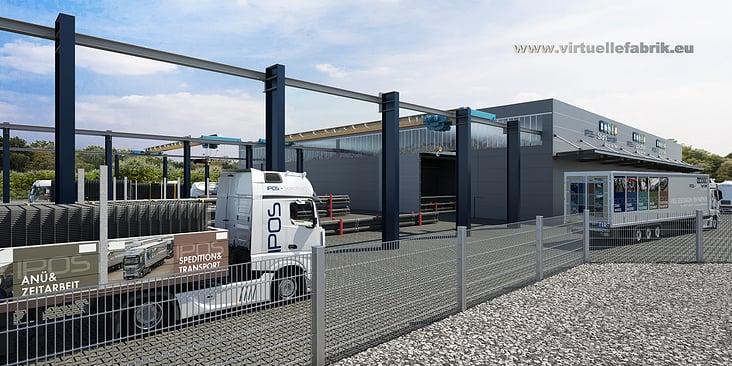 Visualisierung Außenlager Logistik Stahlhandel