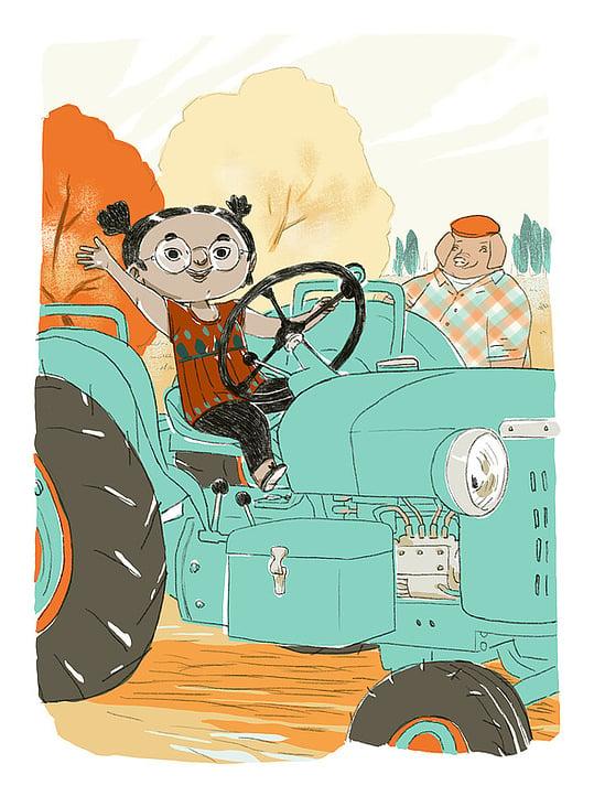 Guck Mama ich fahre Traktor!