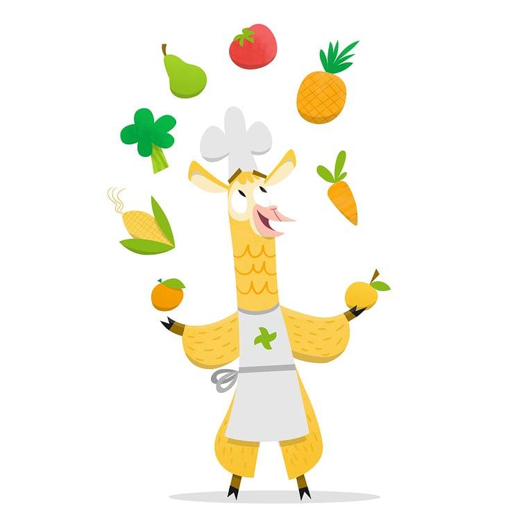 Das Lama jongliert mit Lebensmitteln