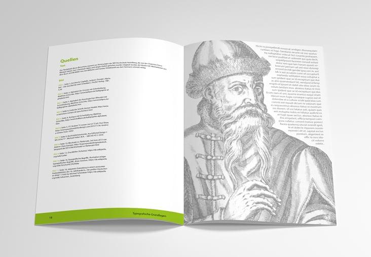 Inhalt der Broschüre über Typografie