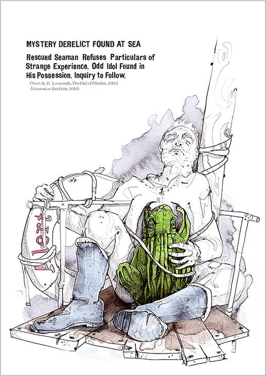 """Buchillustration zum Buch """"The Call of Cthulhu"""" von H.P. Lovecraft"""