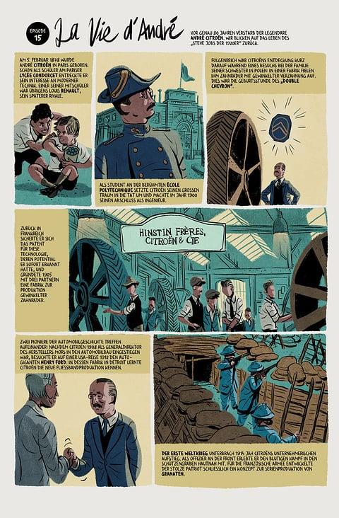 Zweiseitige Comic Biografie über Andre Citroen– Citroen Magazin