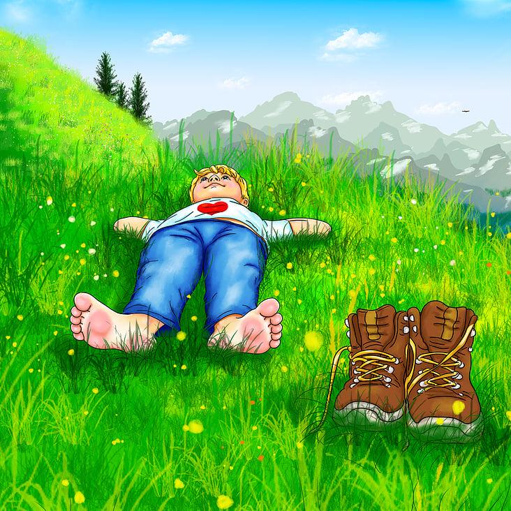 Urlaub in den Bergen– entspannt auf einer Bergwiese