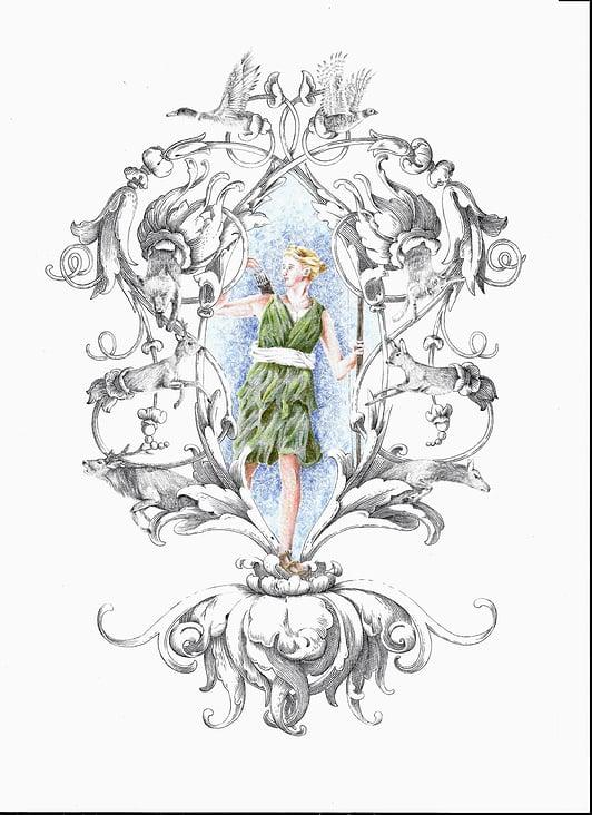 Diana und Ornament in Strichschattierung