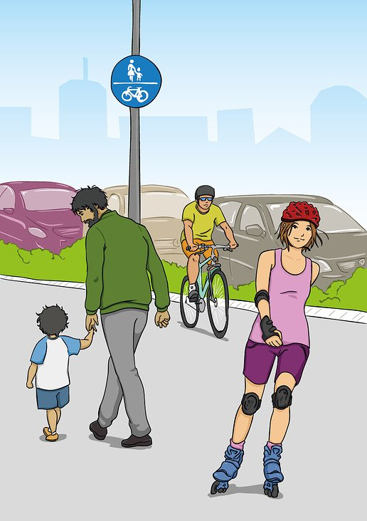 Inline Skater und Radfahrer