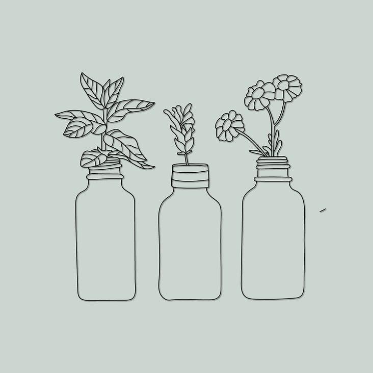 Illustration ätherische Öle