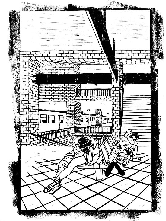 Heimkehrende Segel beim Alexanderplatz– Din A2, Linoldruckfarbe auf Bambuspapier