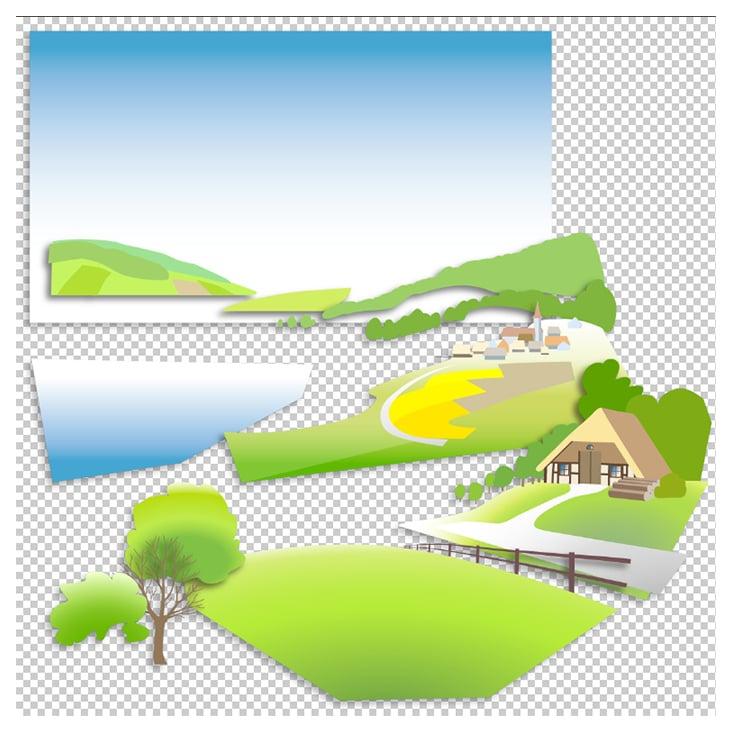Hintergrund-Aufteilung des Keyvisuals zur leichteren Bearbeitung mit Effekten in After Effects