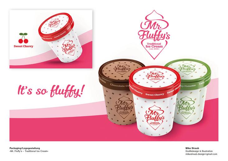 »Mr. Fluffy's – Traditional Ice Cream«  Packaging und Logo-Design