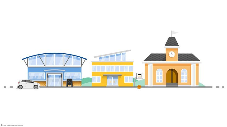 Explainer Flat Buildings Shopping Mall School Townhall
