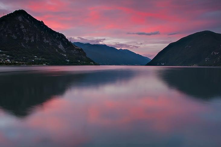 Sonnenuntergang am Idrosee