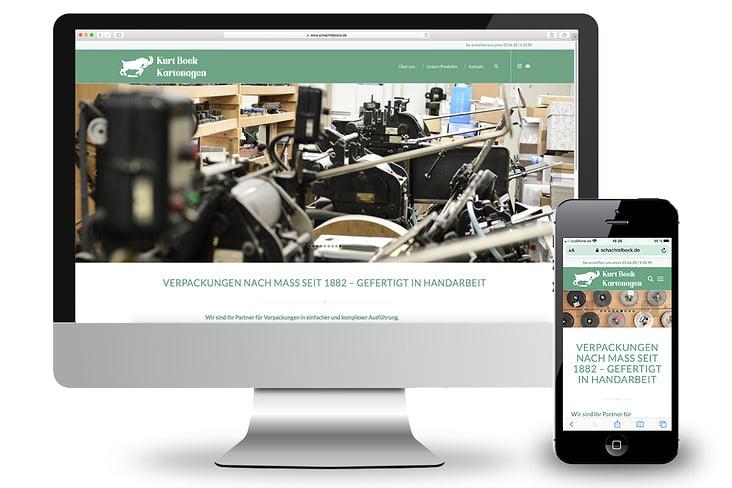 Gestaltung des Webauftritts für Kurt Bock Kartonagen, Ansicht Monitor und Smartphone