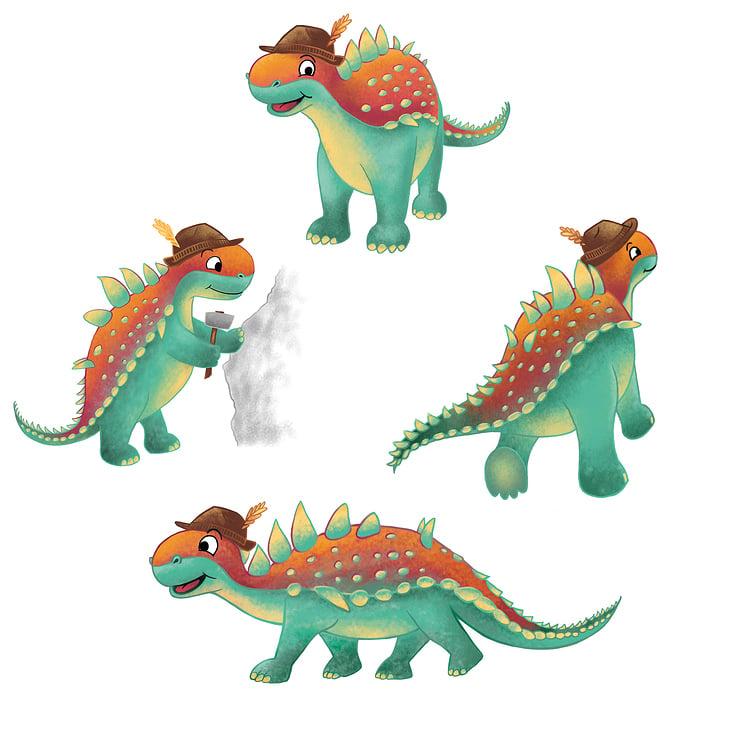 Charakter-Illustration Dino