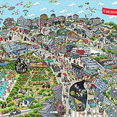 """""""Cartoon Cityposter Berlin-Gesundbrunnen"""" von Natascha Schwarz"""