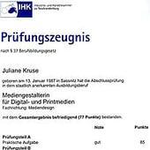 """""""IHK Prüfungszeugnis"""" von Juliane Kruse"""