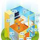 animierte Infografik in isometrischer Darstellung: Barrierefreies Wohnen