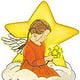 Engel mit Sternenstrauß, digitale Malerei