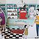 Bastelbogen für die Wiener Süßwarenhändler– Nostalgischer Zuckerlladen
